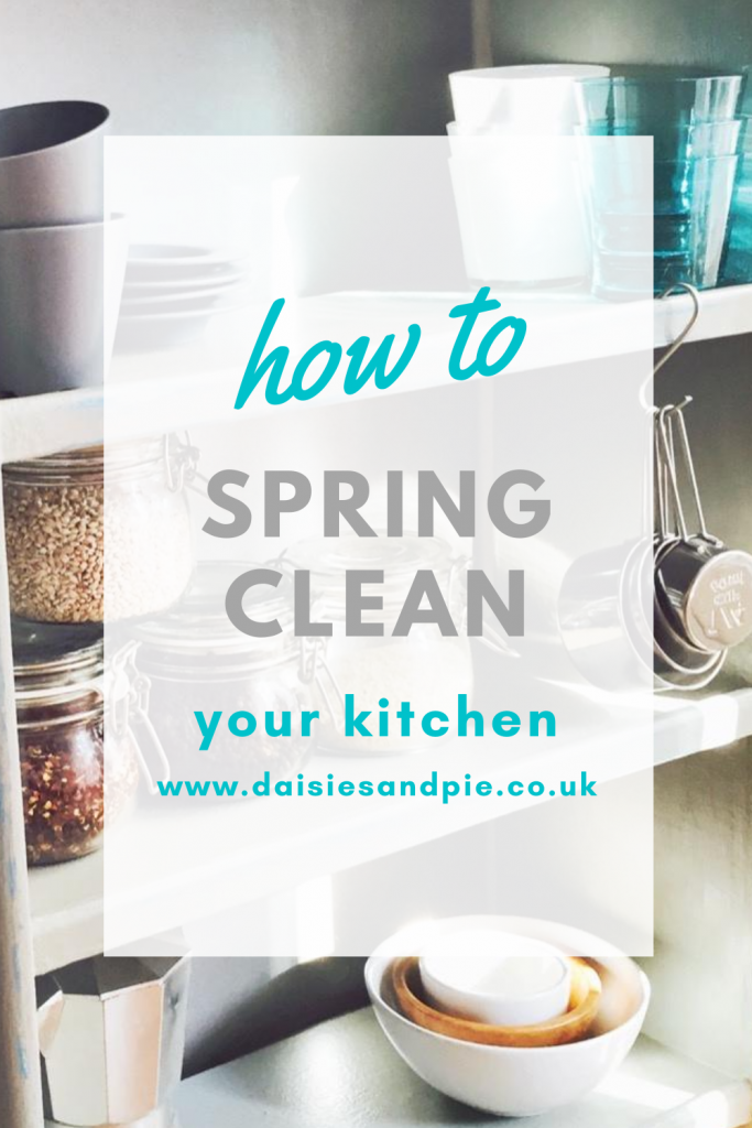 """clean organized kitchen shelves after spring cleaning. Text """"how to spring clean your kitchen"""""""