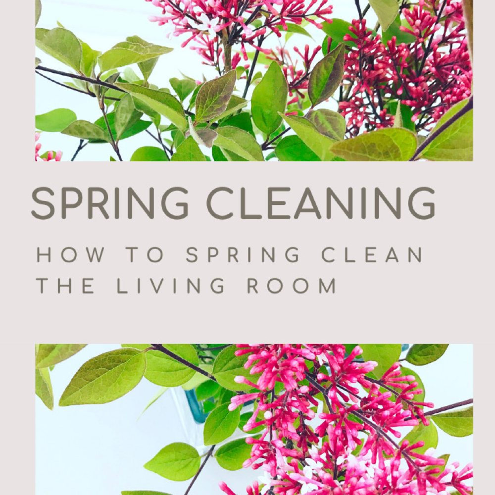 "vase of lilacs on a white table - Text ""spring cleaning - how to spring clean the living room"""