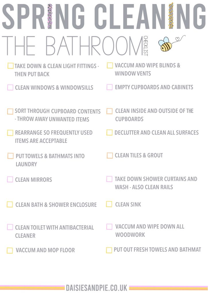 spring cleaning checklist for the bathroom - free printable