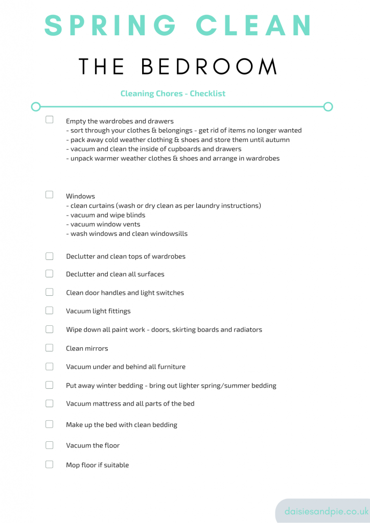 printable spring cleaning checklist with chores for deep cleaning the bedroom
