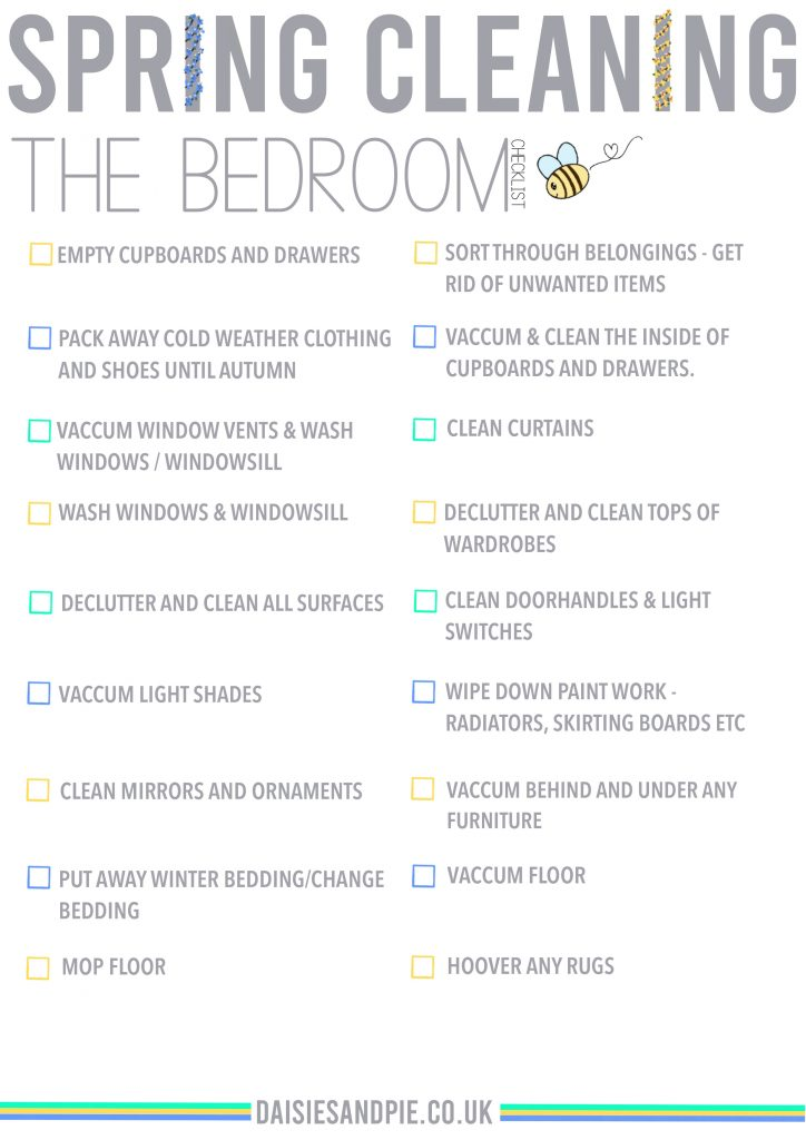 spring cleaning checklist for the bedroom - free printable