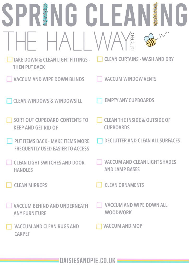 spring cleaning checklist for the hallway - free printable