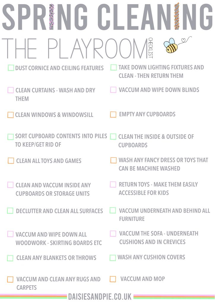 free printable spring cleaning checklist for the playroom
