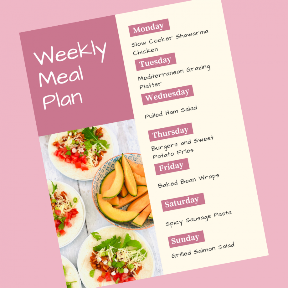 Weekly Family Meal Plan 1st June 2020