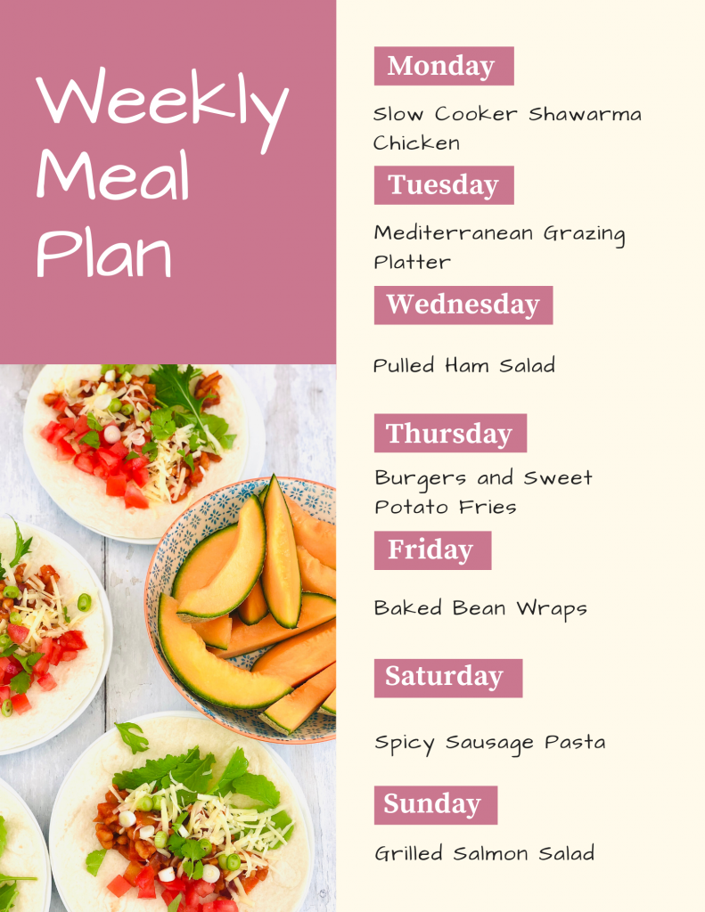 weekly family meal plan with image of baked bean wraps with salad and a bowl of melon - Text - Monday - slow cooker shawarma chicken, Tuesday - mediterranean grazing platter, Wednesday - pulled ham salad, Thursday - burgers and sweet potato fries, Friday - baked bean wraps, Saturday - spicy sausage pasta, Sunday - grilled salmon salad