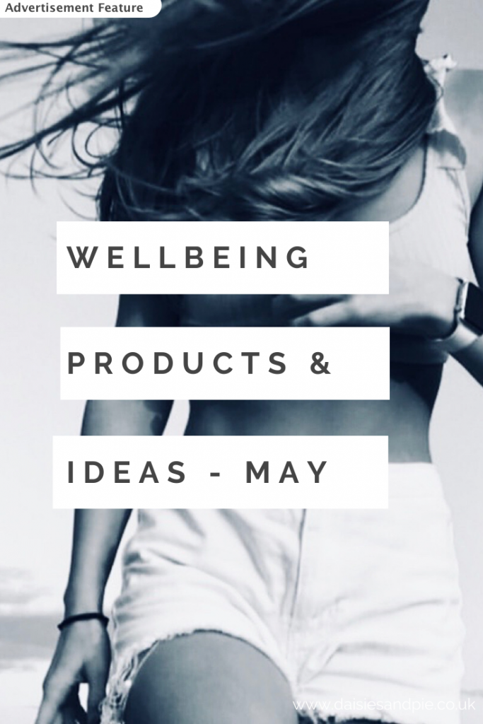 """black and white image of toned girl in shorts. Text """"wellbeing products and ideas - May - advertisement feature"""""""
