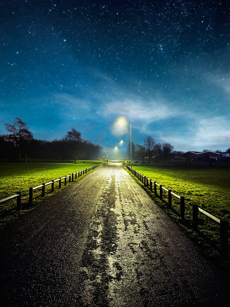 self care ideas - stargazing to boost relaxation and sense of self - image shows dark starry sky