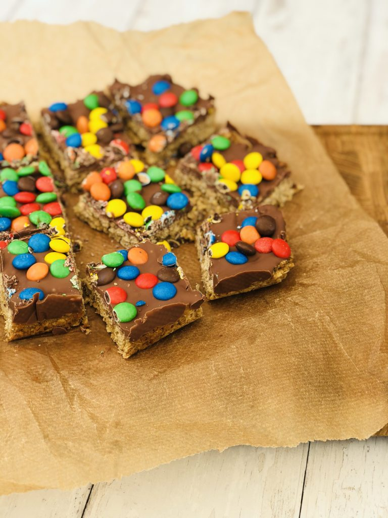 M&M's Chocolate Flapjacks cut into 12 pieces
