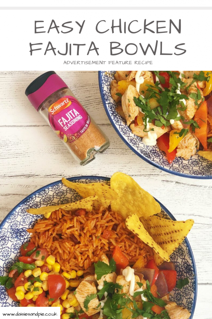 chicken fajita bowl - two bowls packed with Mexican spiced chicken breast with peppers alongside quick homemade salsa, tomato rice and nachos for scooping up