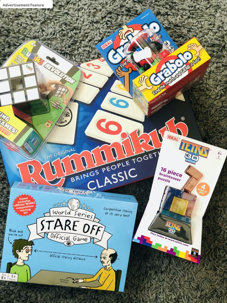 selection of games - Rummikub, Stare Off,Tetris 3D, Grabolo and Rubik's Revolution