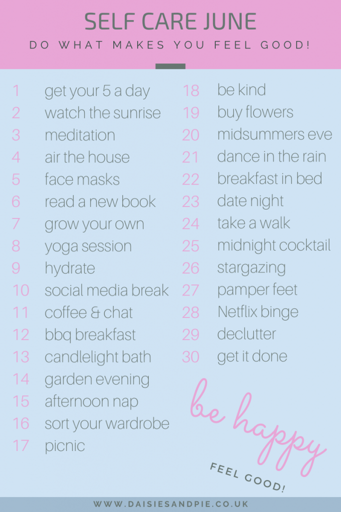 list of 30 self care activities and ideas for June