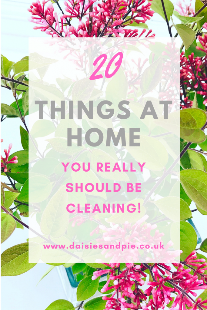 "vase of lilacs. Text ""20 things at home you really should be cleaning - www.daisiesandpie.co.uk"""