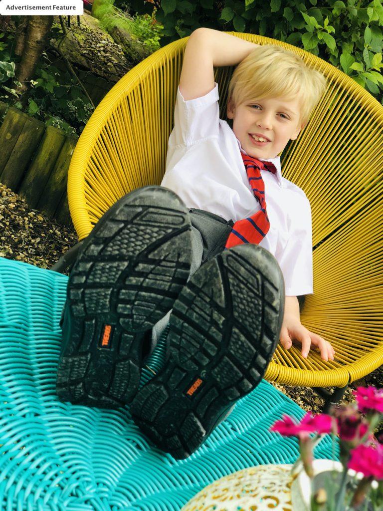 boy wearing kids school shoes from Treads