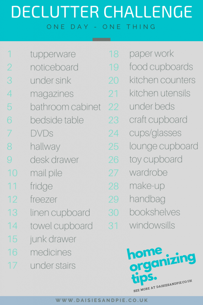 list of decluttering and organization challenges for 31 days