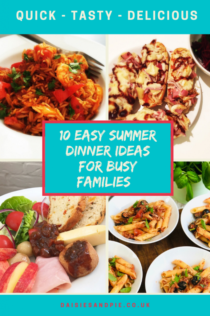 """easy summer dinner ideas - ploughman's lunch, tuna bolognese, easy spanish rice and french bread pizza. Text """"10 easy summer dinner ideas for busy families"""""""