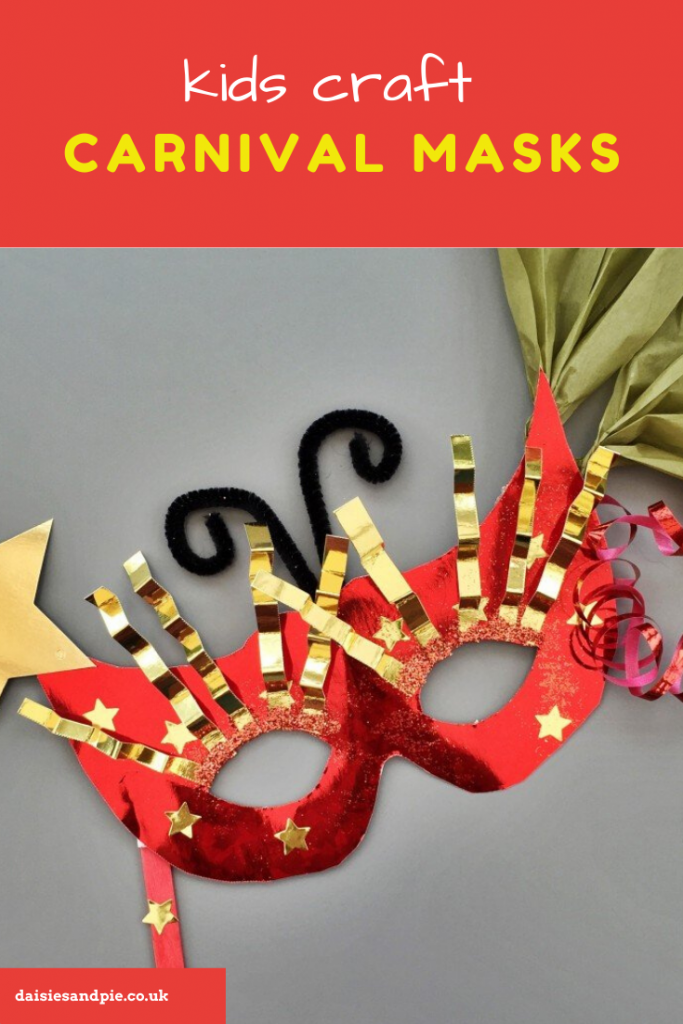 kids carnival masks craft - red shiny masquerade masks made by kids decorated with shiny stars, paper and glitter