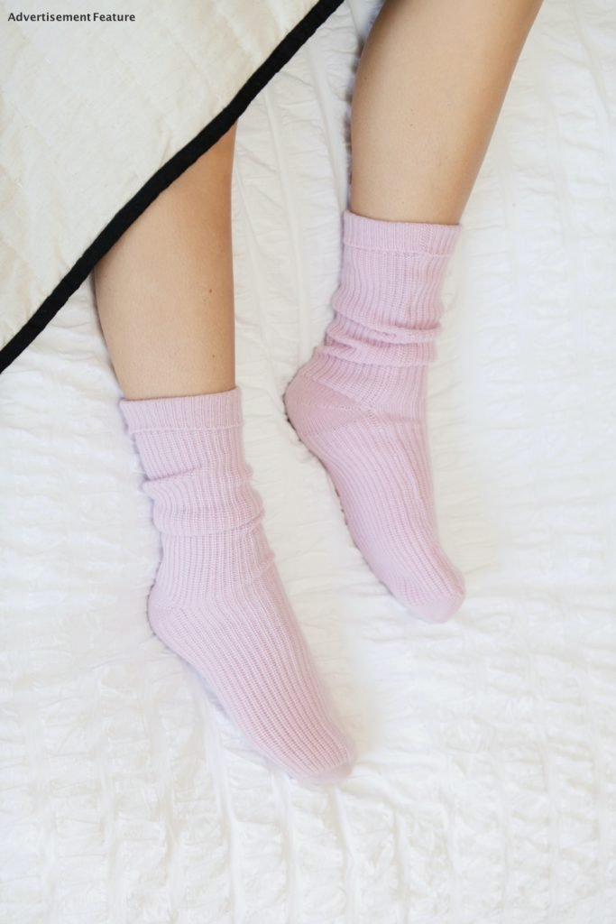 cashmere bed socks in pale pink