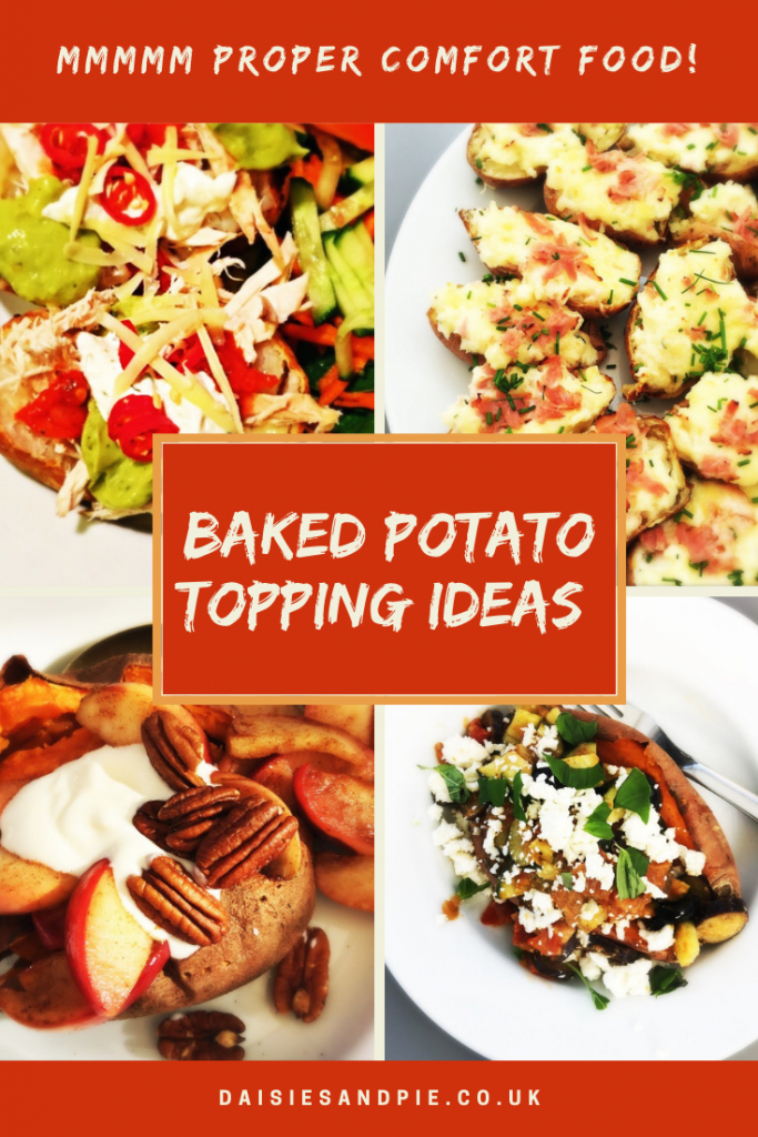"baked potato topping ideas - chicken fajita topped baked potatoes, ham and cheese loaded skins, dessert topped baked sweet potato with cinnamon apples, yogurt and pecans and baked sweet potato with pesto vegetables. Text overlay ""mmmm proper comfort food - baked potato topping ideas"""