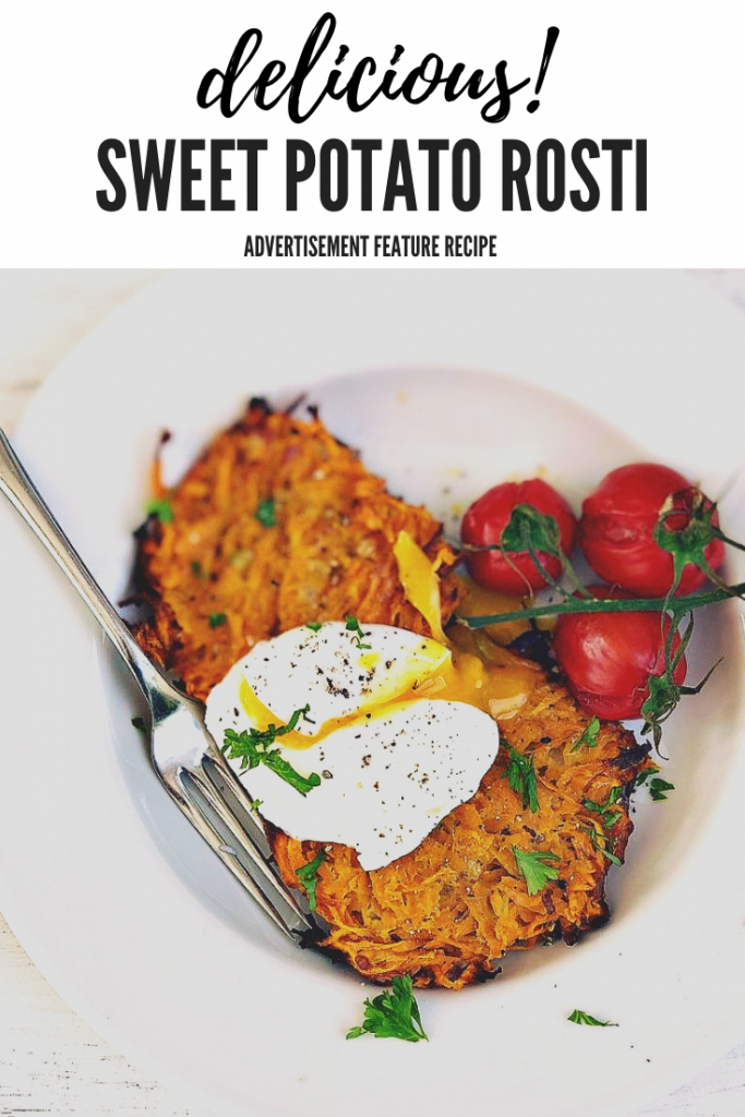 """sweet potato rosti served with roasted baby vine tomatoes and a poached egg. Text overlay """"delicious sweet potato rosti"""""""