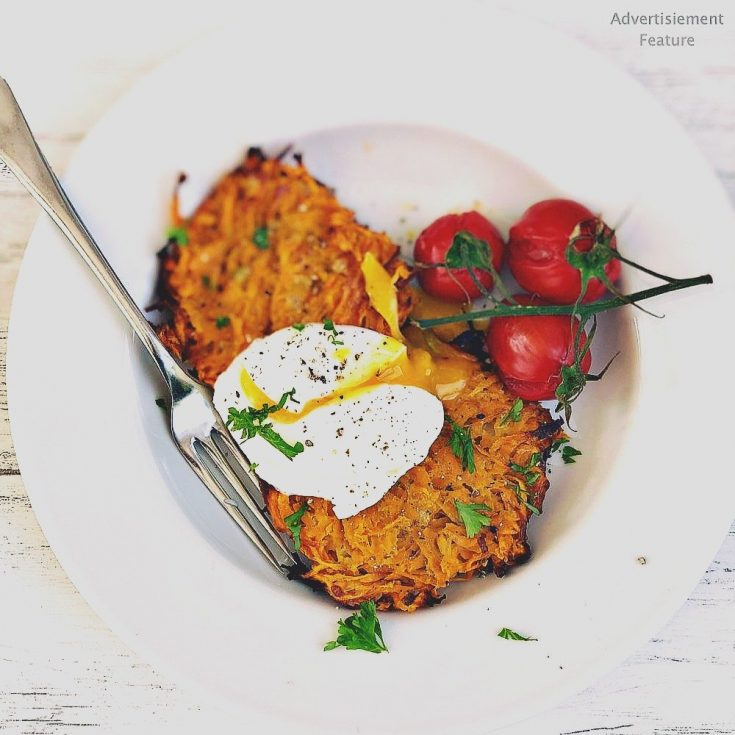 sweet potato rosti served with roasted baby vine tomatoes and a poached egg
