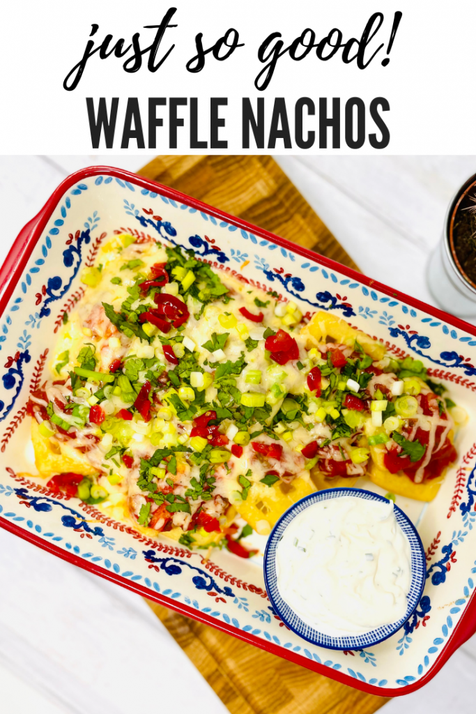potato waffle nachos with salsa, cheese, spring onions, coriander and a soured cream and herb dip all served in a brightly coloured red and blue dish