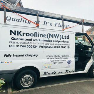 NK Roofline Ltd van with text on side - fascia - soffits - guttering - windows - dry verge - rock door supliers