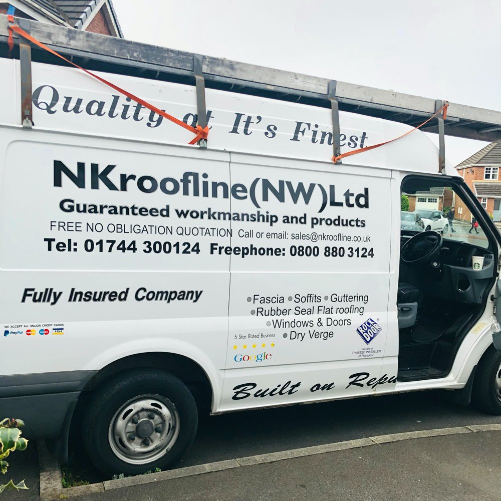NK Roofline Ltd van with text on side - fascia - soffits - guttering - windows - dry verge - rock door supliers