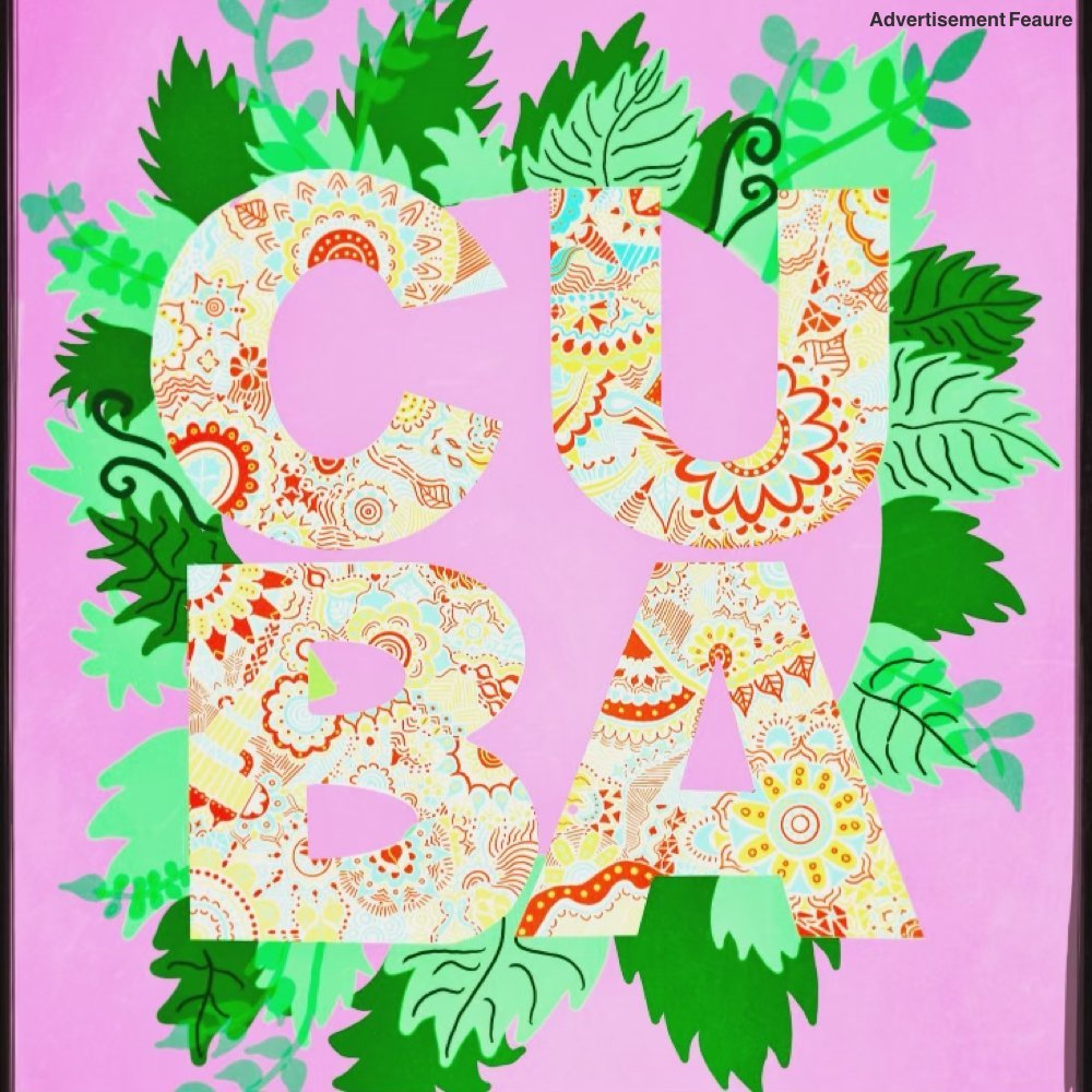 the word cuba written in bubble writing decorated with flowers. Pink background with ring of foliage in dark and light green