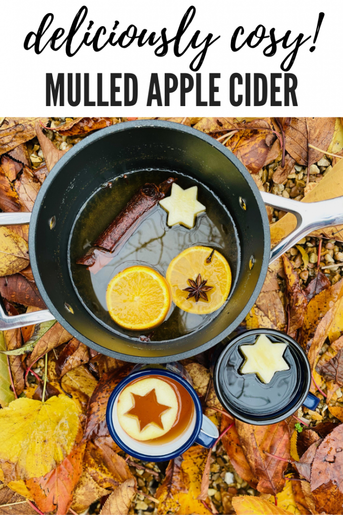 """mulled cider with oranges and spices floating in the pan, next to the pan is two enamel mugs filled with cider with apple star shapes floating on top. Pan and cups are nestled amongst fallen orange leaves. Text overlay """"deliciously cosy mulled apple cider'"""