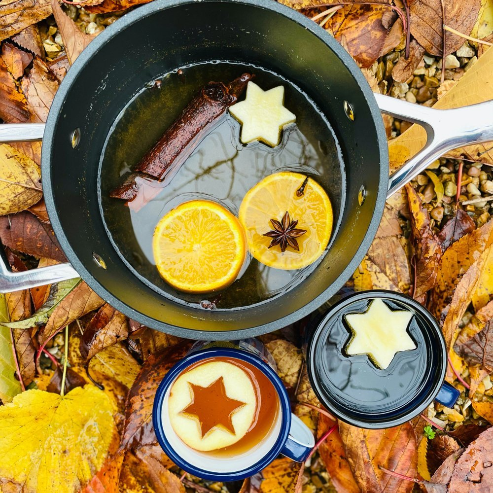mulled cider with oranges and spices floating in the pan, next to the pan is two enamel mugs filled with cider with apple star shapes floating on top. Pan and cups are nestled amongst fallen orange leaves