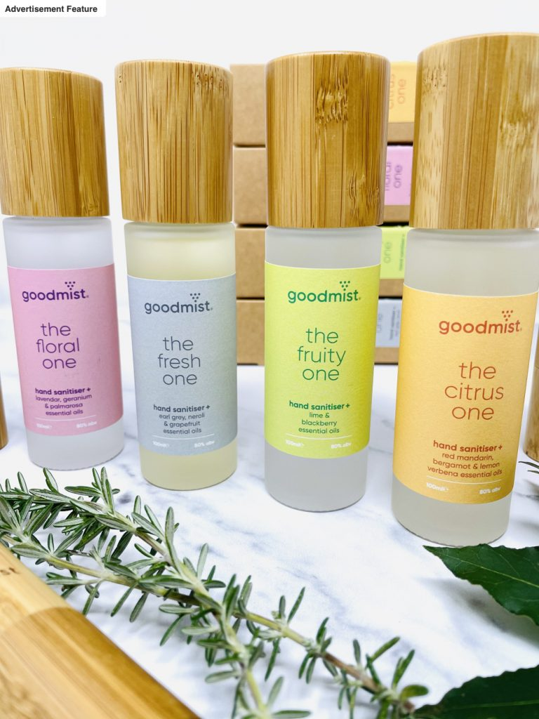 "Goodmist hand sanitiser in glass bottles with bamboo lids, bamboo wrapped packs for on the go - four scents ""the fruit one with lime and blackberry essential oils"", ""the floral one with lavender, geranium and palmarosa essential oils"", ""the citrus one with red mandarin, bergamot and lemon verbena essential oils"" and ""the fresh one with earl grey, neroli and grapefruit essential oils"""