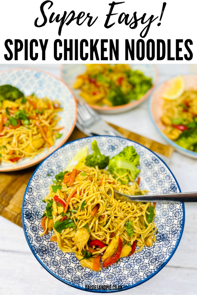 "spicy chicken noodles served with a side portion of broccoli in geometric print bowls. Text overlay reads ""super easy spicy chicken noodles"""