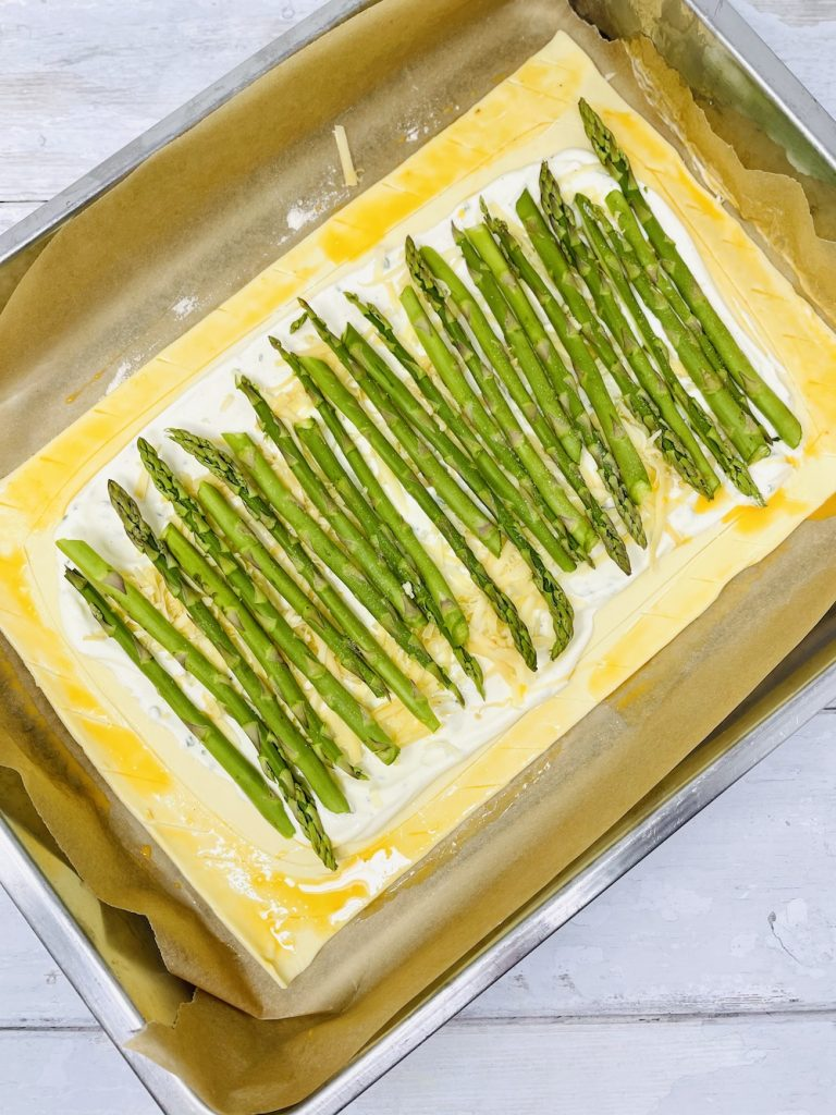 asparagus tart ready to be cooked in the oven
