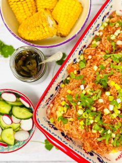 Cajun chicken and rice sprinkled with chopped spring onions and coriander. Served alongside cucumber and radish salad, candied jalapeños and corn cobs