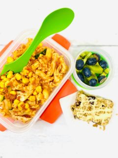 chicken and sweetcorn pasta salad in a Joseph Joseph food storage box next to a pot of kiwis and blueberries and a homemade blueberry flapjack