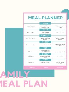 weekly family meal plan with breakfast, lunches and dinners