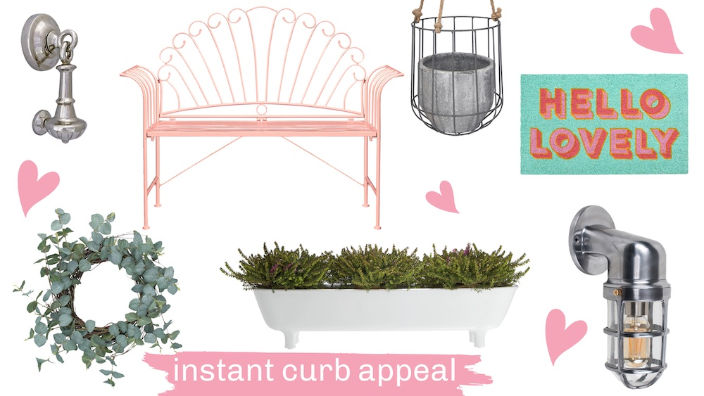 """Image of door knocker, pink metal bench, concrete planter, door mat that says Hello Lovely, white planter, nautical style outdoor light, eucalyptus wreath. Text overlay reads """"instant curb appeal"""""""