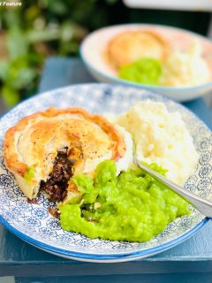 steak and hambleton ale Yorkshire handmade pies served with creamy mashed potatoes and mushy peas