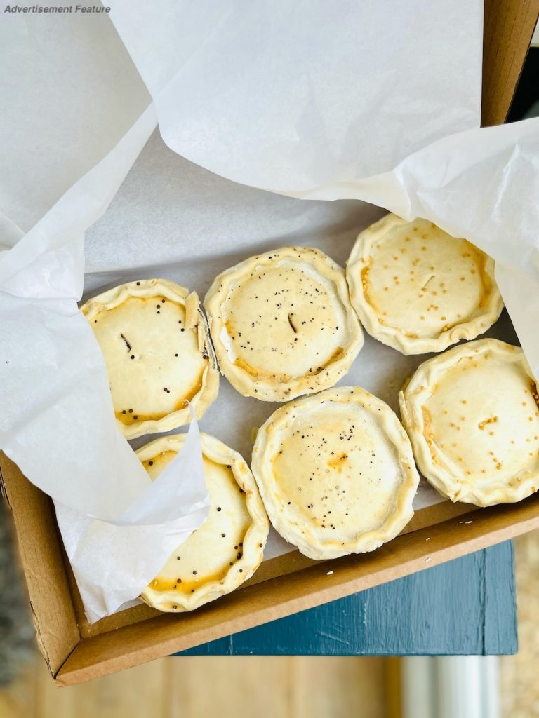 Father's Day gift ideas -  box of frozen ready to cook Yorkshire Handmade Pies wrapped in tissue paper