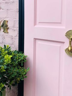 pink front door with a Knock Knock Door Knocker And Apex House Numbers - Unlacquered Brass, £39, www.gipsyhillhardware.com