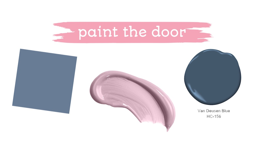 """paint splashes - one blue, one pink and one dark blue. Text overlay """"paint the door"""""""