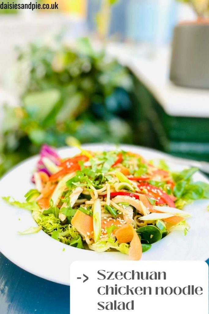 """Szechuan chicken noodle salad with aromatic salad dressing served on a white plate, stood on a small grey side table. Text overlay reads """"""""Szechuan chicken noodle salad"""""""