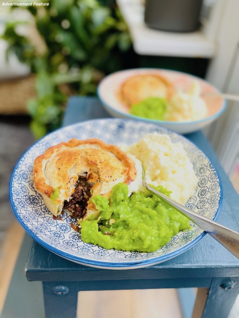 steak and Hambleton ale pie from Yorkshire Handmade Pies served with mashed potatoes and mushy peas
