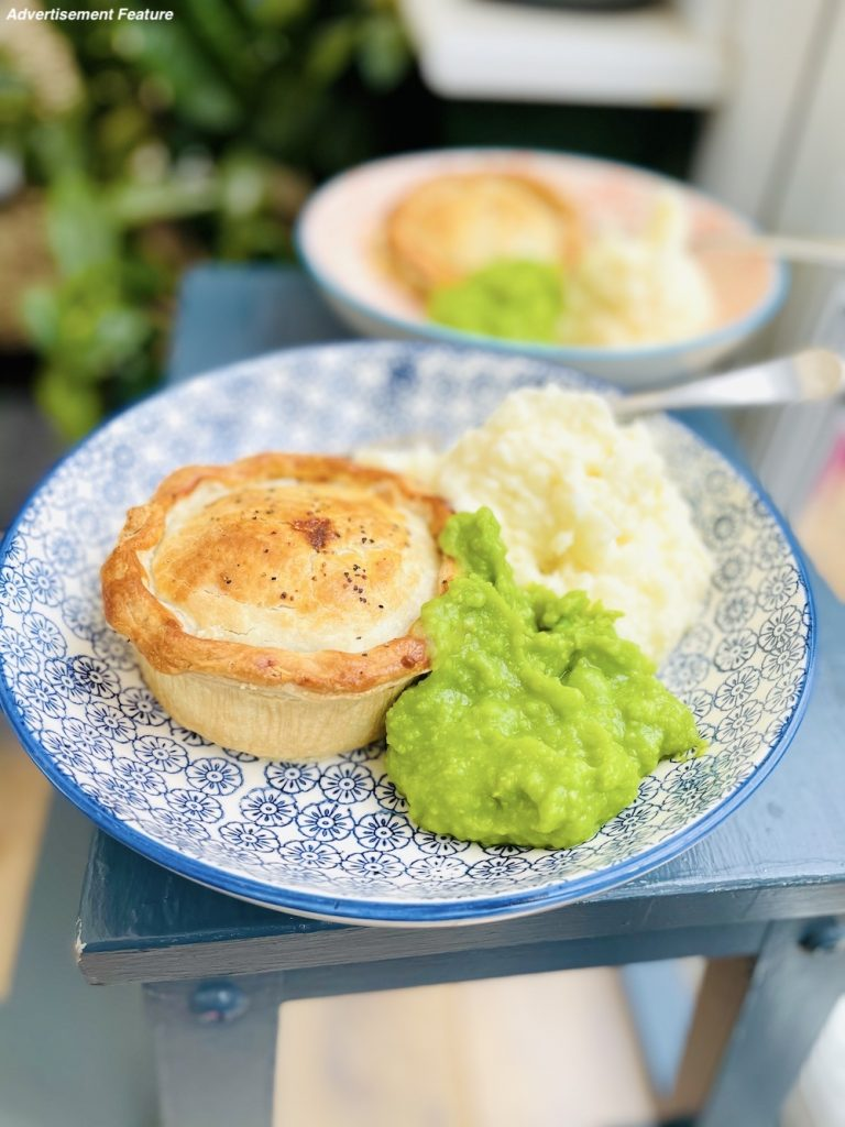 Yorkshire handmade pies served with creamy mashed potatoes and mushy peas