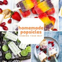 three images of homemade popsicles - one platter of rainbow fruit lollies, one plate of creamy fruit lollies and a platter of coconut and lime ice lollies. Text overlay reads