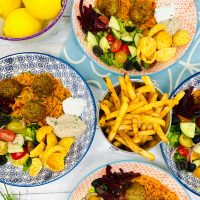 falafel salad served with salad, dips and bucket of fries for #meatfreemonday