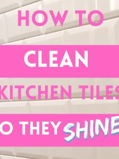 white kitchen tiles. text overlay reads