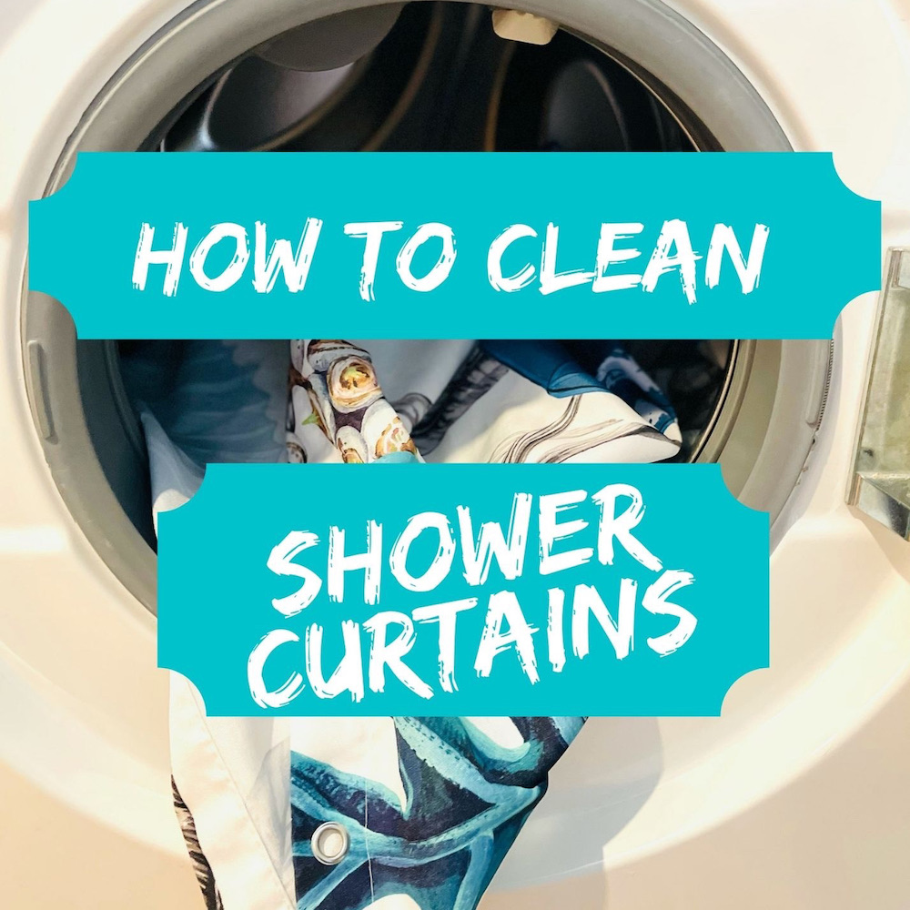 """shower curtain being washed in the washing machine. Text overlay reads """"how to clean a shower curtain"""""""