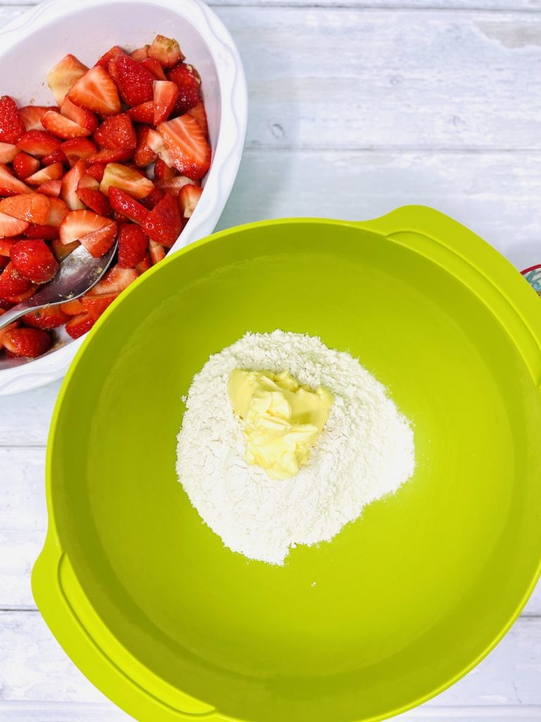 plain flour and butter in a mixing bowl