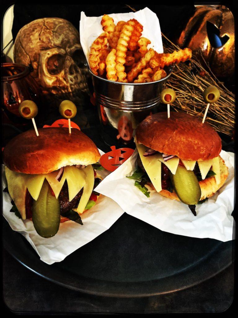 halloween burgers made to look like monsters